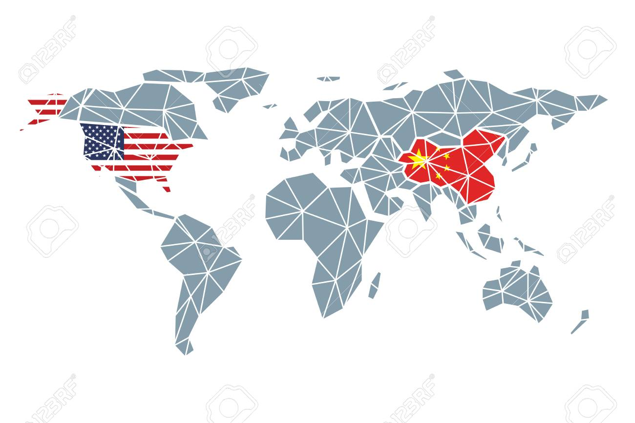 USA And China At The World Map Background Vector Lizenzfrei Nutzbare China On World Map on