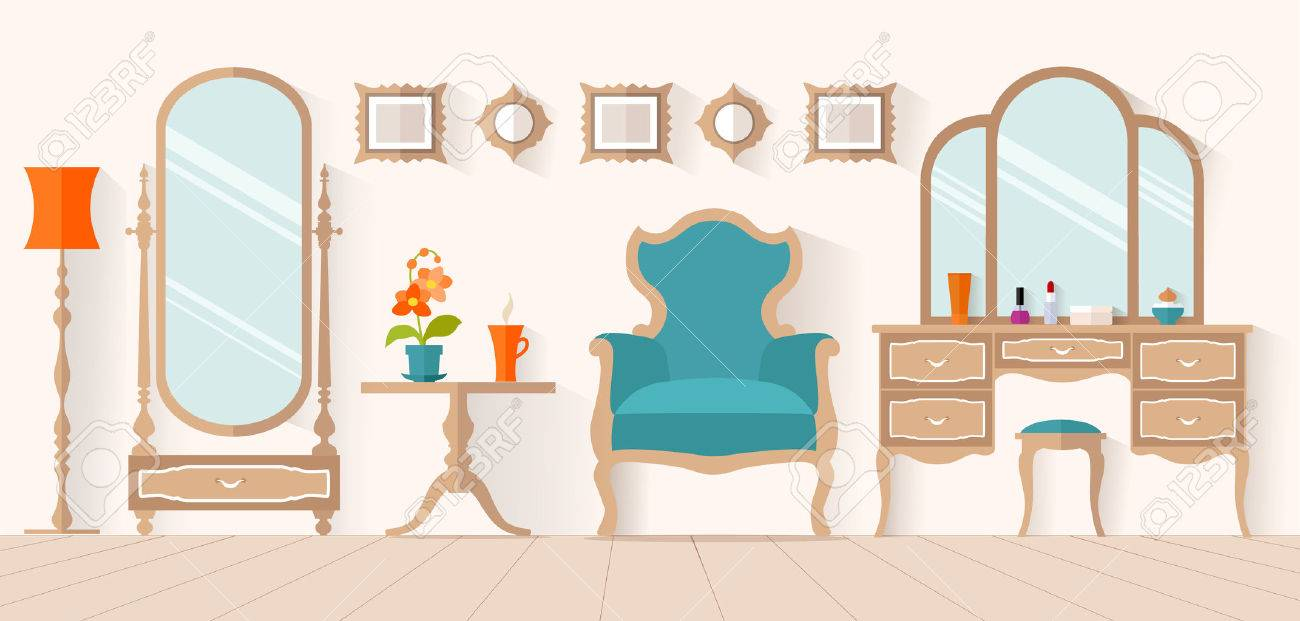 The Interior Of Dressing Room With Furniture In Flat Style Design A