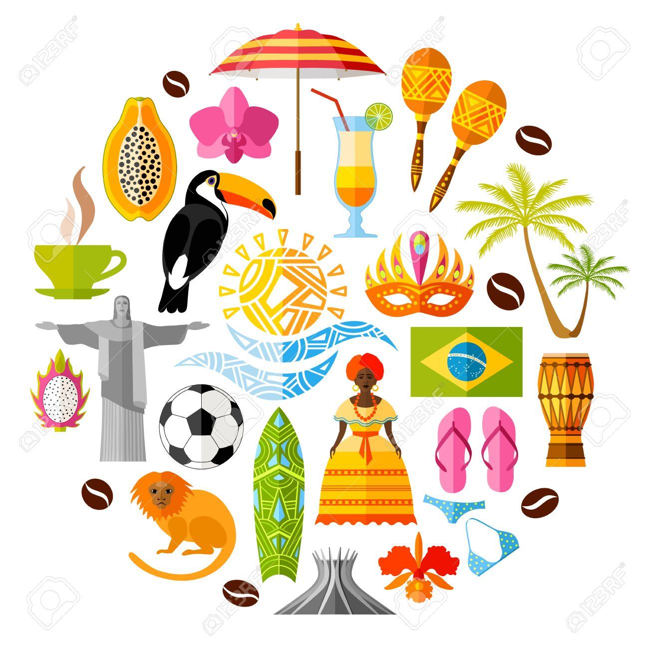 ブラジルの伝統的な国の象徴ブラジルのアイコンのセットですフラット