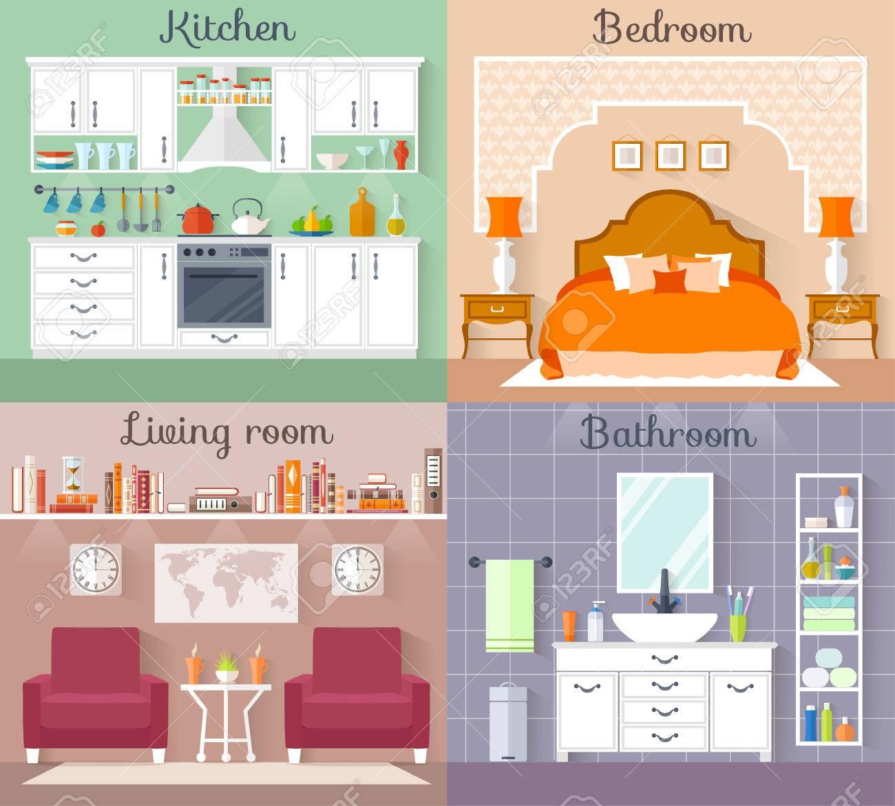 Fesselnd Set Interieur Mit Möbeln Und Geräten. Entwerfen Sie Ein Wohnzimmer, Küche,  Bad,