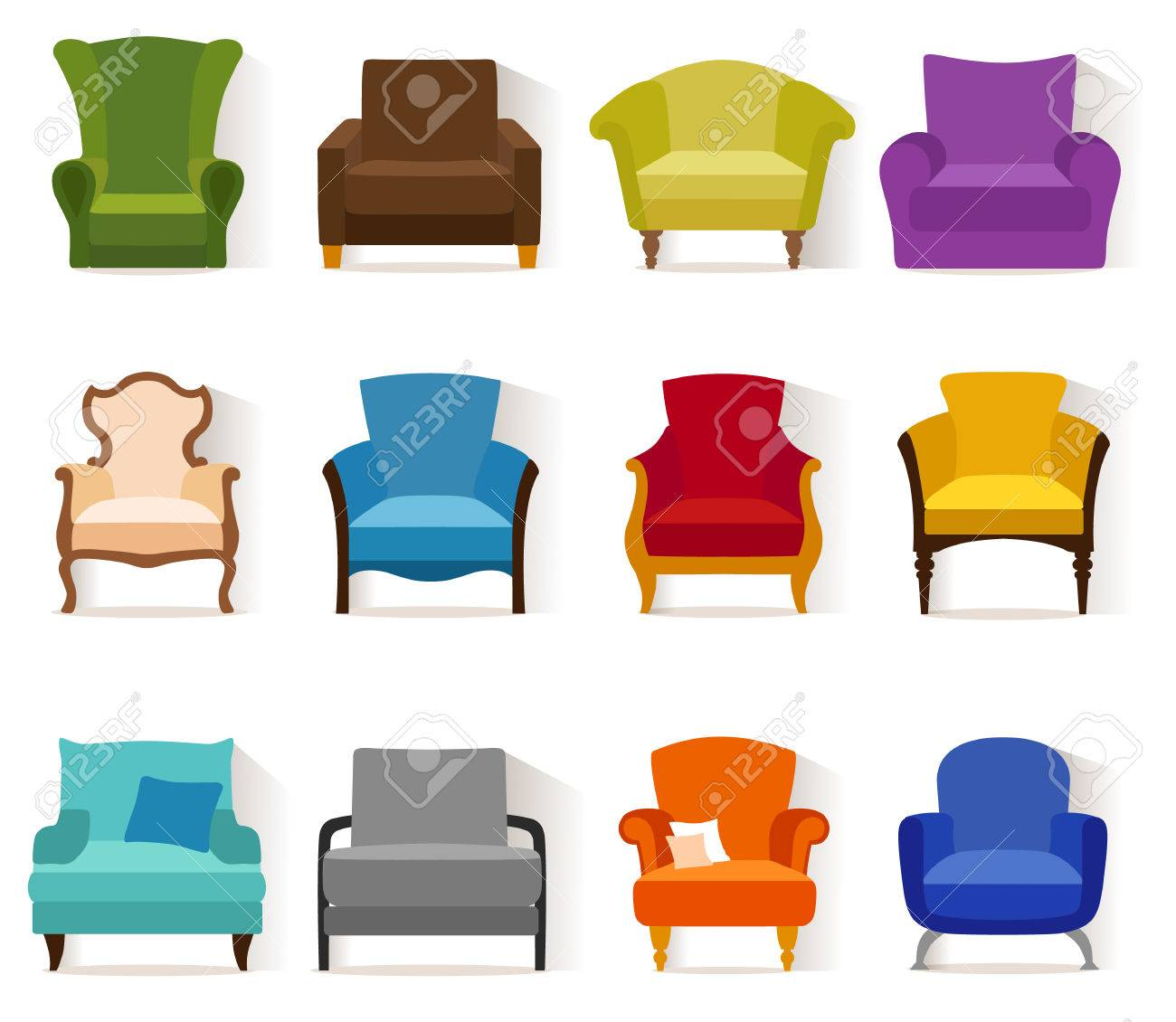 Set Of Different Chairs In Flat Style. Collection Icons Of ...