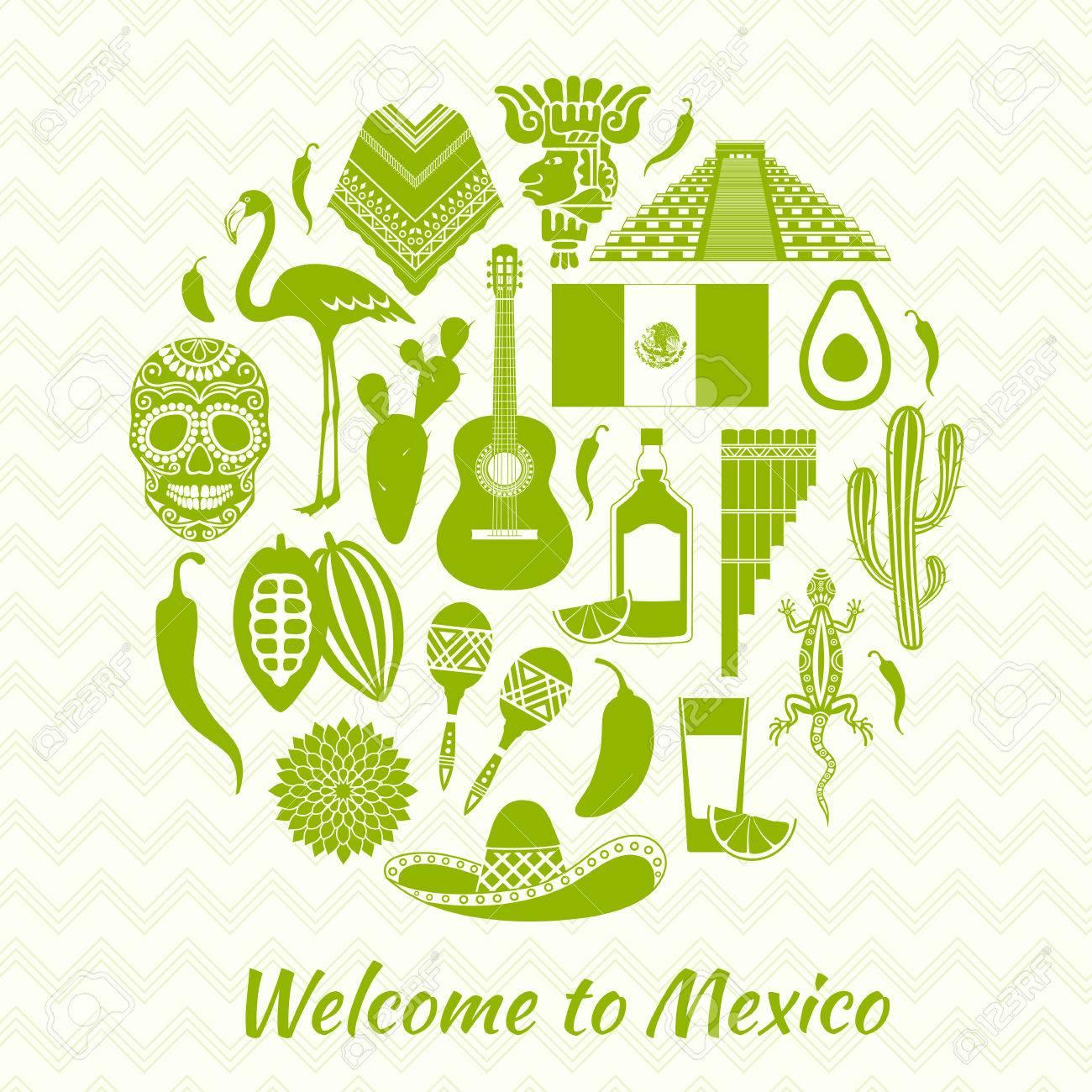Iconos Mexicanos Siluetas. Conjunto De Símbolos Tradicionales De ...