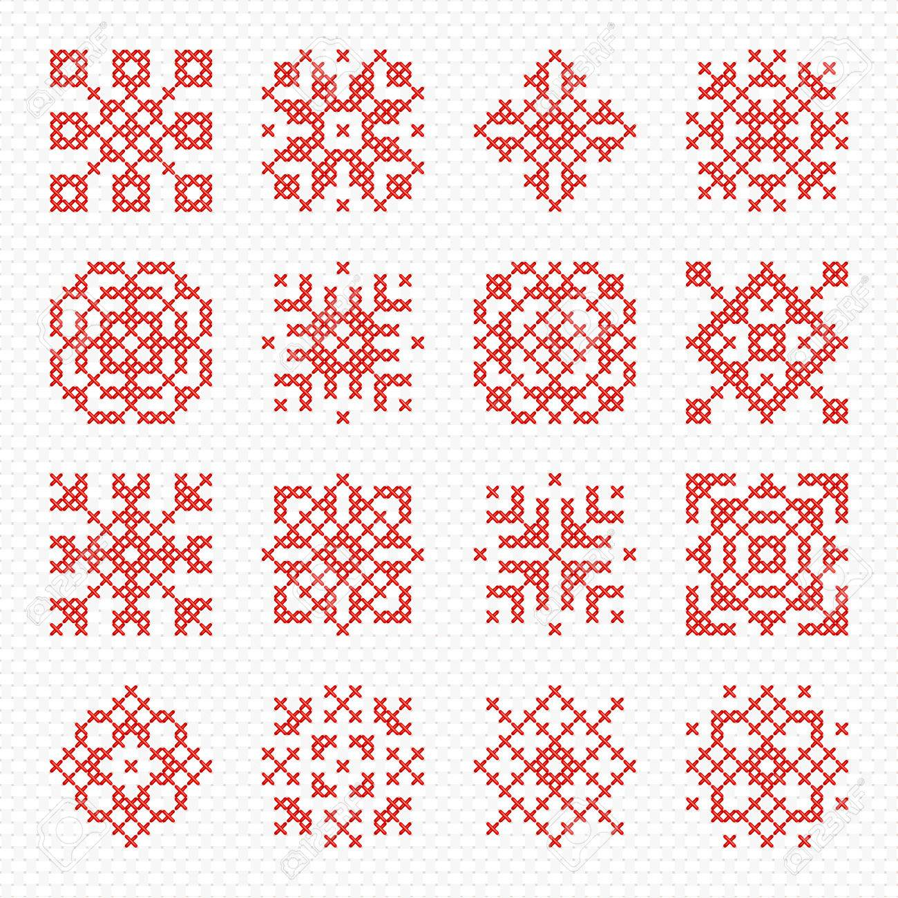 Set Of Cross Stitch Element For Embroidery Design. Decorative ...