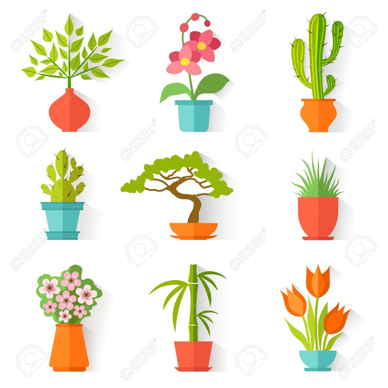 Set Of House Plants And Flowers In Flat Style Isolated On White