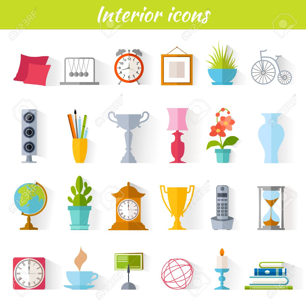 Icons Of Home Decor Interior Accessories And Souvenirs Set