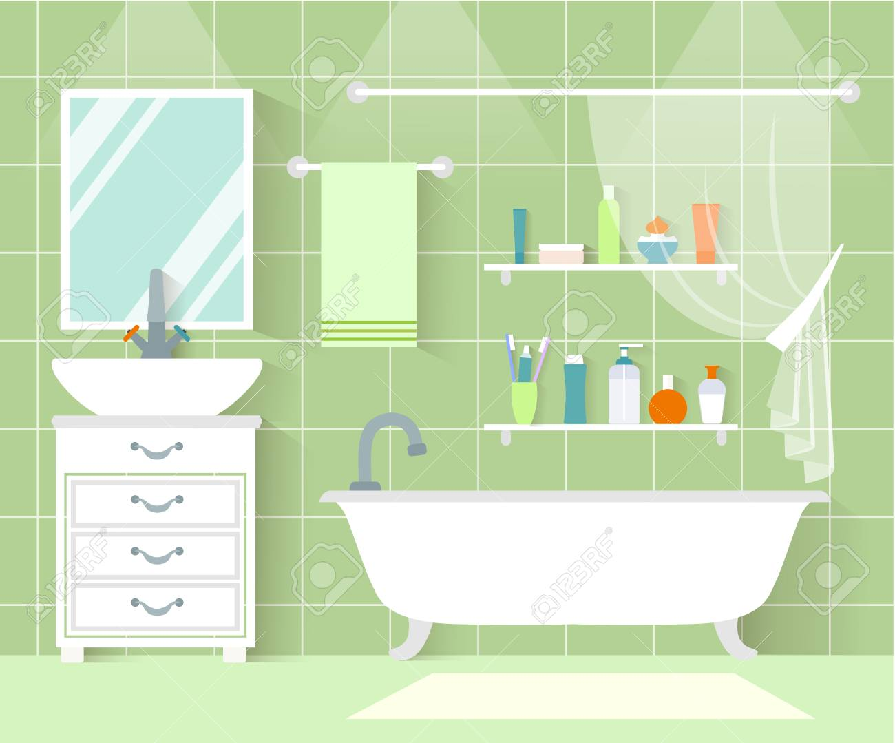A Vector bathroom front view. Interior design in flat style