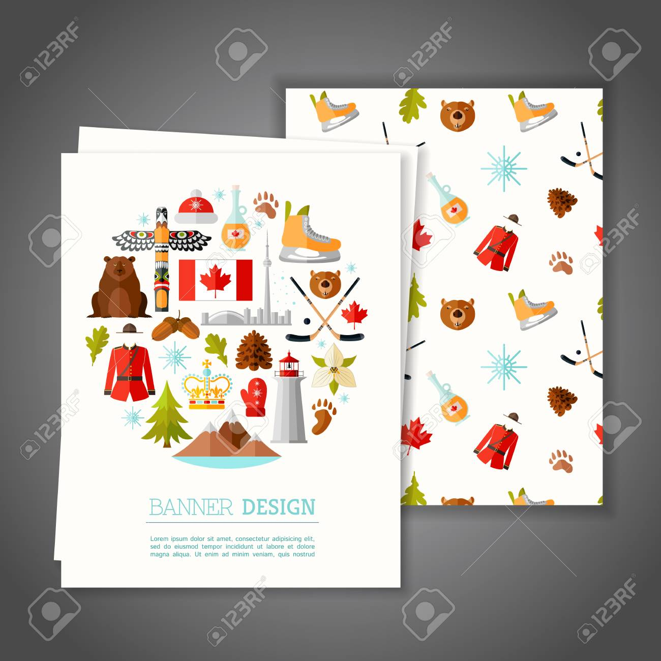Cards With National Symbols Of Canada Greeting Or Invitation