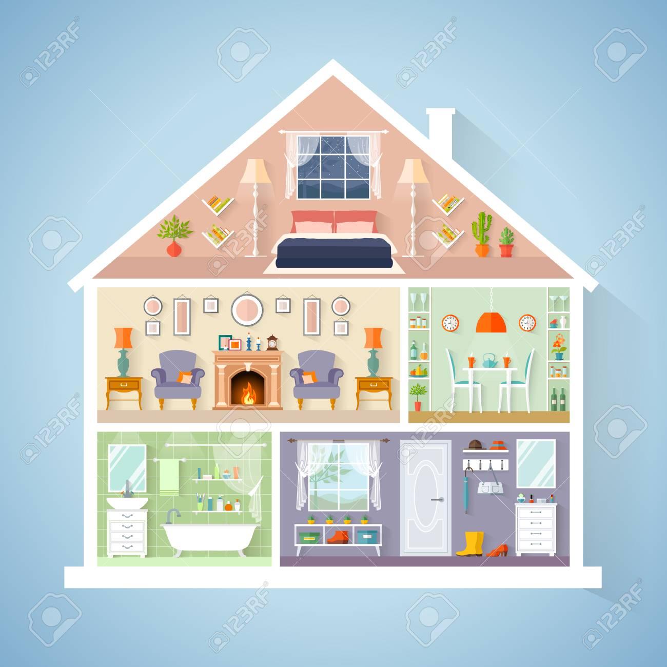 Modèle de maison de vecteur dans une coupe. Chambres avec meubles.  Intérieur détaillé dans un style plat.