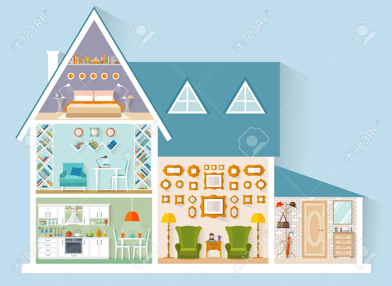 The House Is In A Cut Vector Illustration A Model Building
