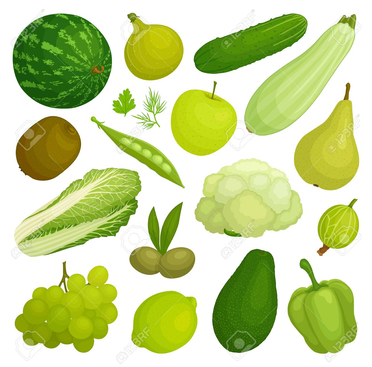A Set Of Fruits And Vegetables Of Green Color. Green Food. Vector ...