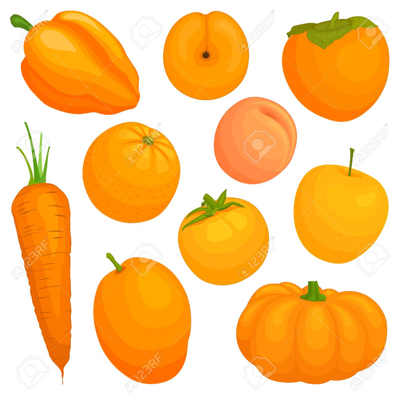 Orange Vegetables And Fruits Vector Illustration A Set Of Food Royalty Free Cliparts Vectors And Stock Illustration Image 93225904