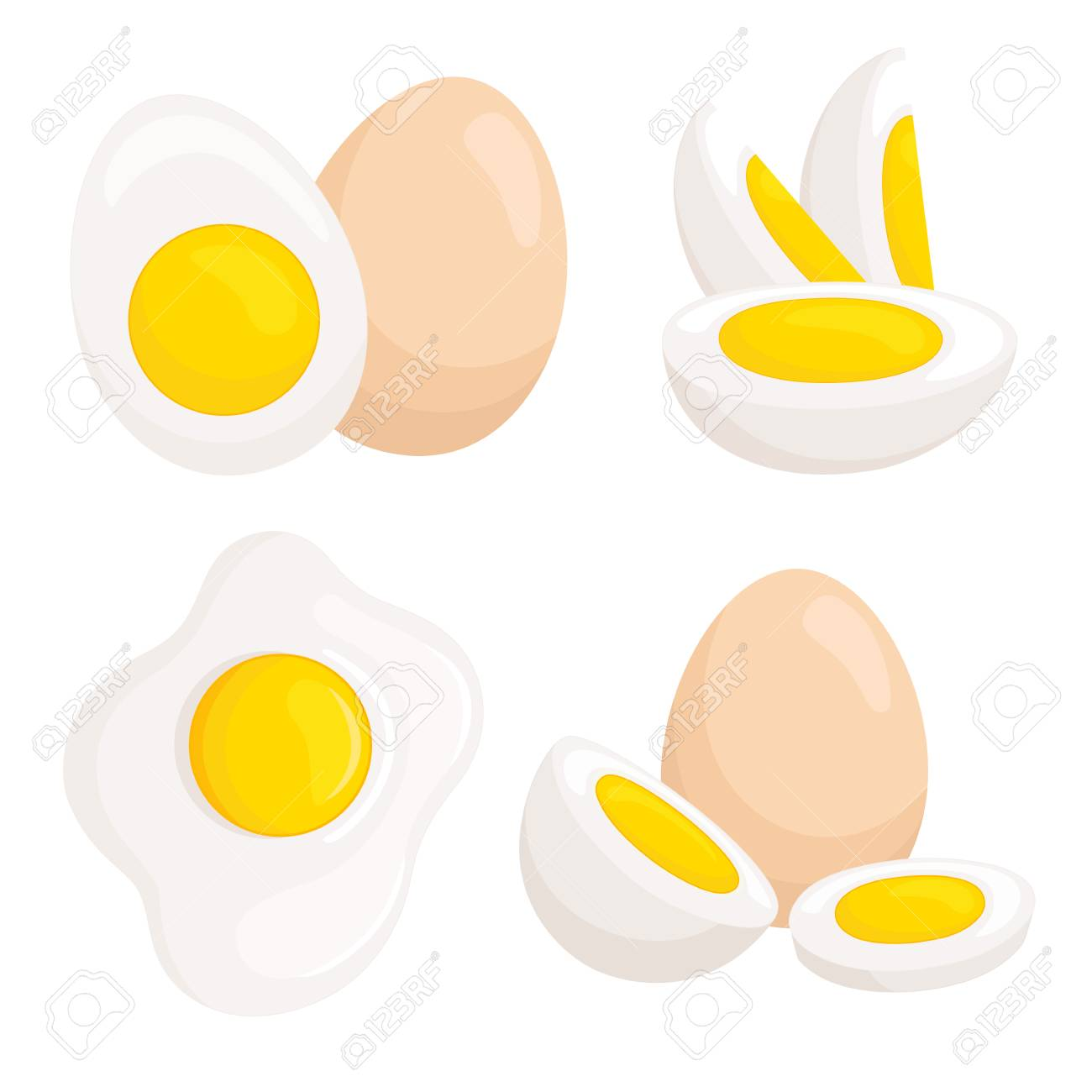 Vector eggs isolated on white background. Set of differently cooked eggs. - 95746283