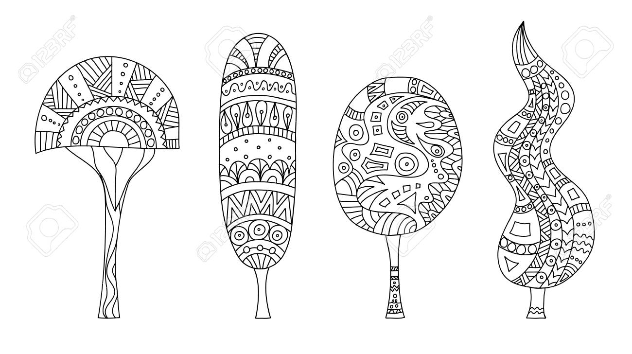 Vector Zentangle Stylized Trees Set Of Doodle Plants Pattern