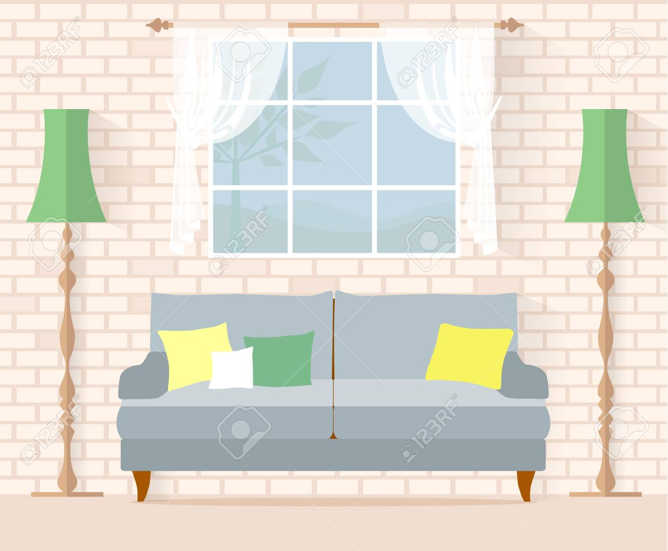 Living Room In Country Style Interior With A Sofa On The Background