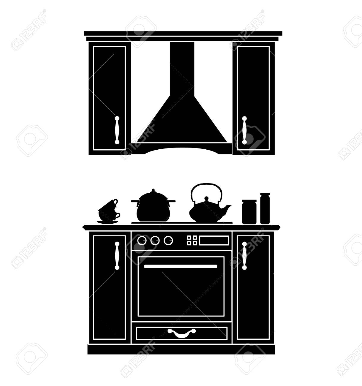 Silhouette Of The Kitchen Vector Black White Stencil Furniture Royalty Free Cliparts Vectors And Stock Illustration Image 124176664