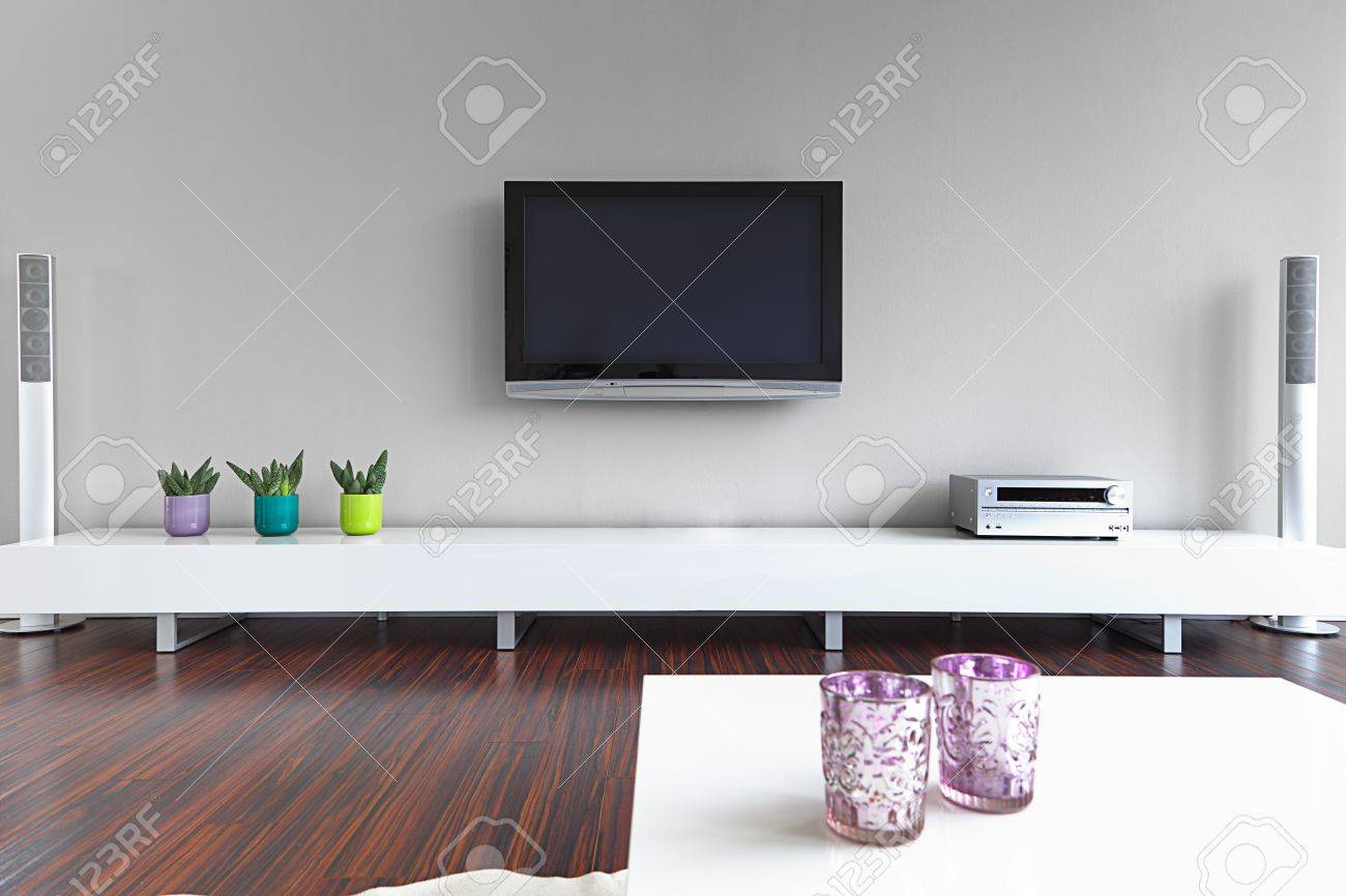 Modern living-room with TV and hifi equipment Stock Photo - 14357875
