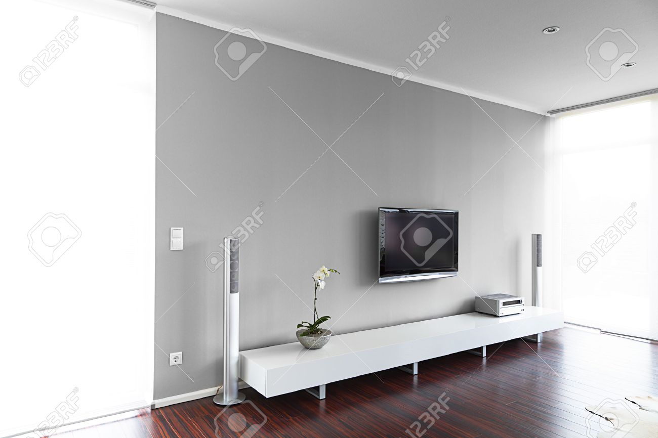 Modern Hifi modern living room with tv and hifi equipment stock photo picture