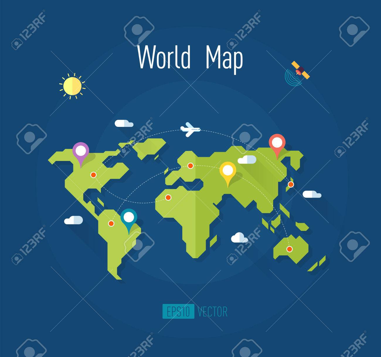 World map on blue background with marks ways pointers satellite vector world map on blue background with marks ways pointers satellite airplane sun and clouds vector illustration gumiabroncs Images