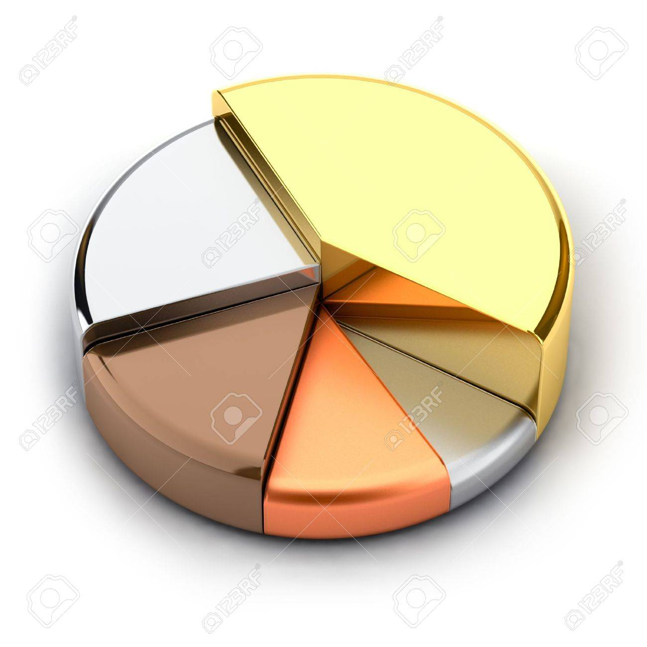 Pie chart made of different metals gold silver bronze copper pie chart made of different metals gold silver bronze copper buycottarizona Image collections