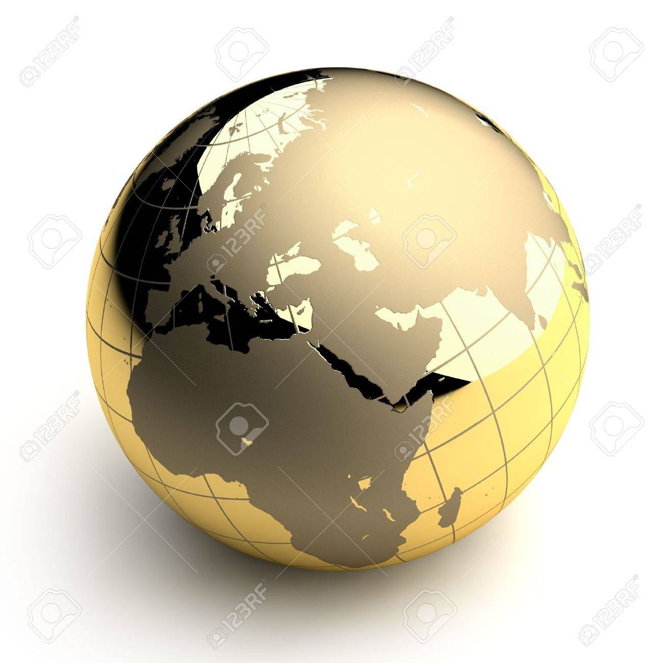 Metal globe of the Earth with a golden hue as it were photographed in the studio. 3D-graphics Stock Photo - 6066363
