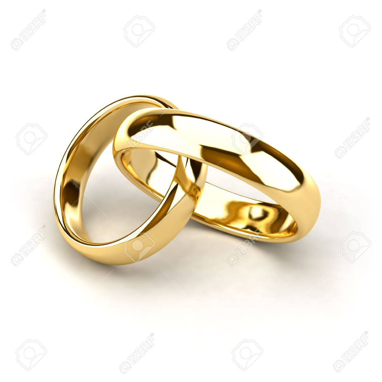 Two Wedding Rings Like Links In The Chain Are Interconnected Stock Photo