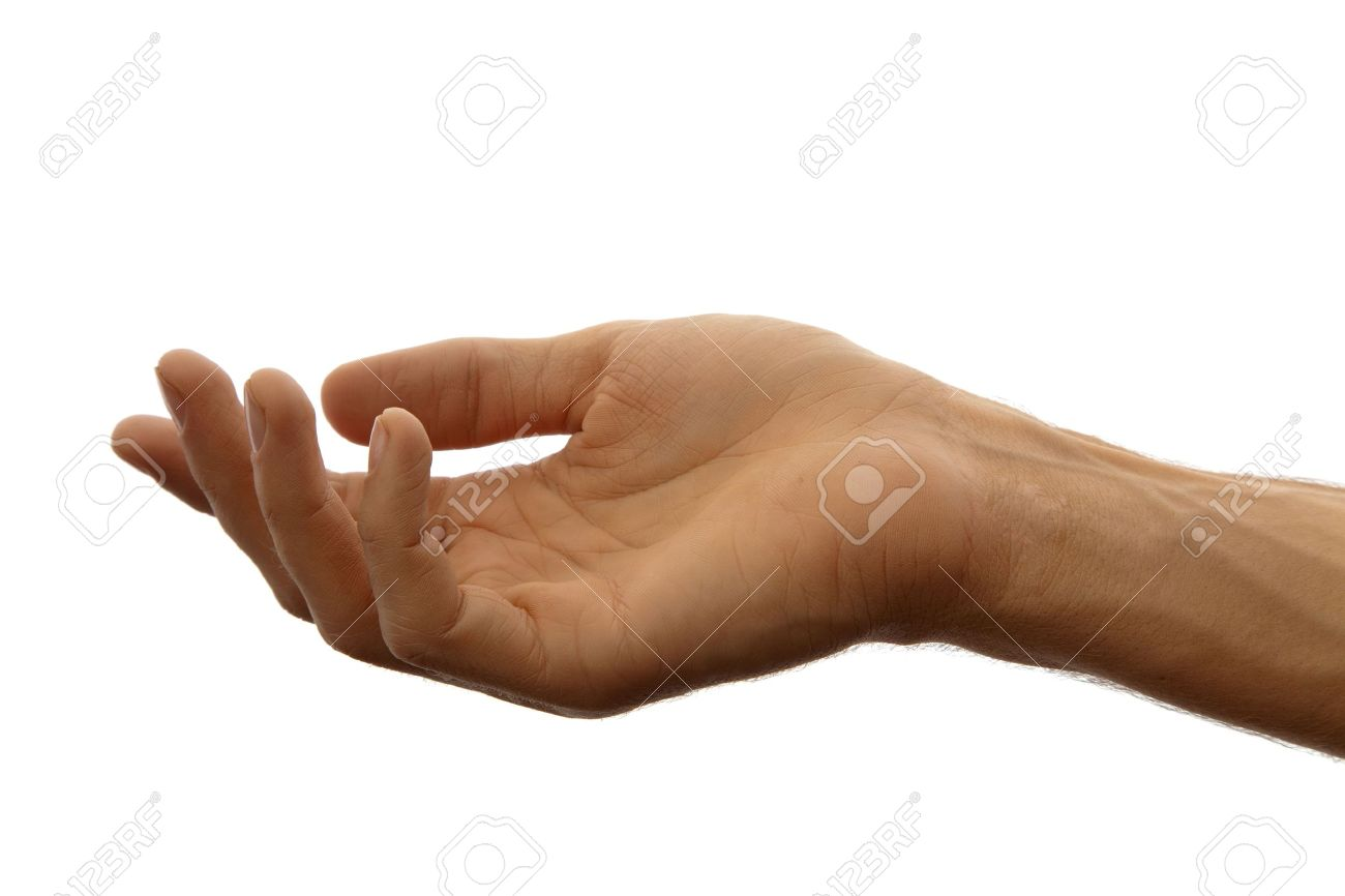 hand as if holding something isolated on a white background stock