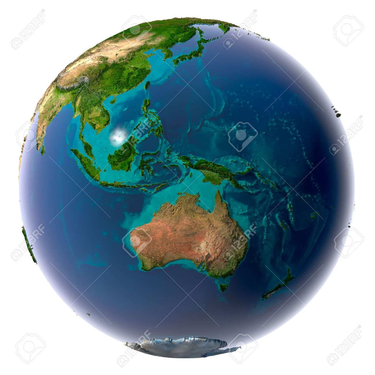 Earth with translucent water in the oceans and the detailed topography of the continents Stock Photo - 8057339