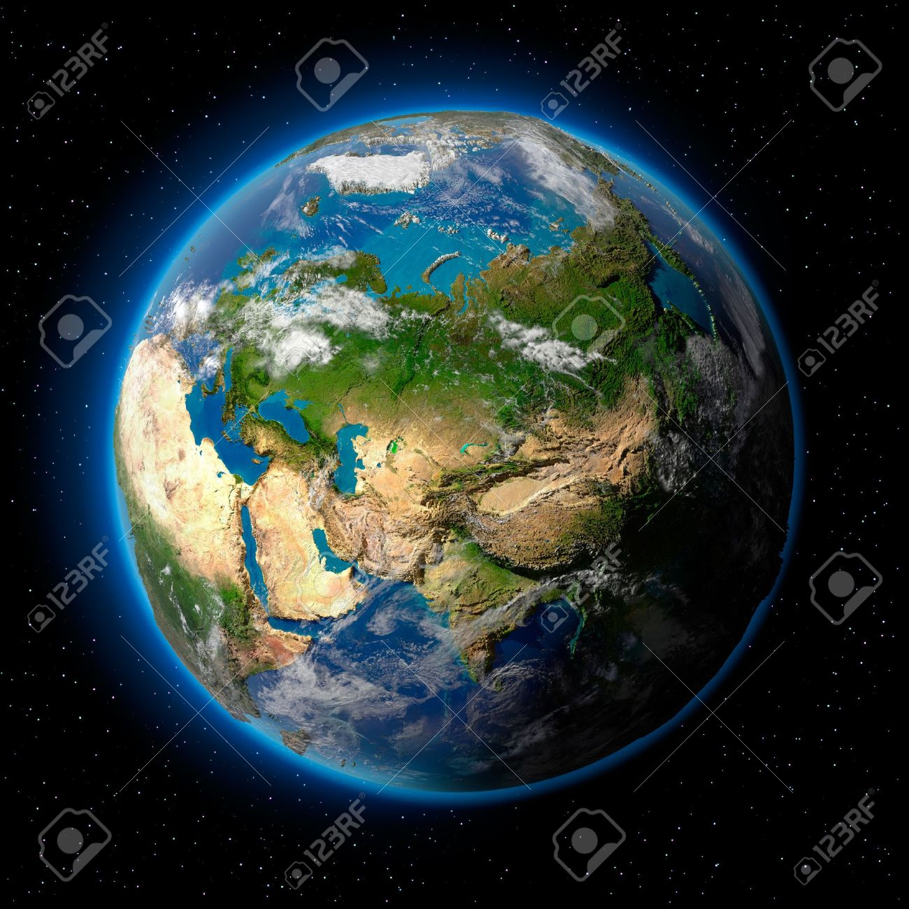 Planet earth with translucent water of the oceans, atmosphere, volumetric clouds, and detailed topography in outer space Stock Photo - 8057377