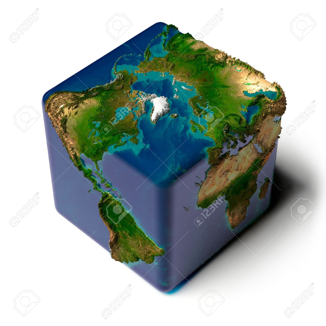 Square Earth Map.Earth As A Cube With A Shadow With A Translucent Water Detailed