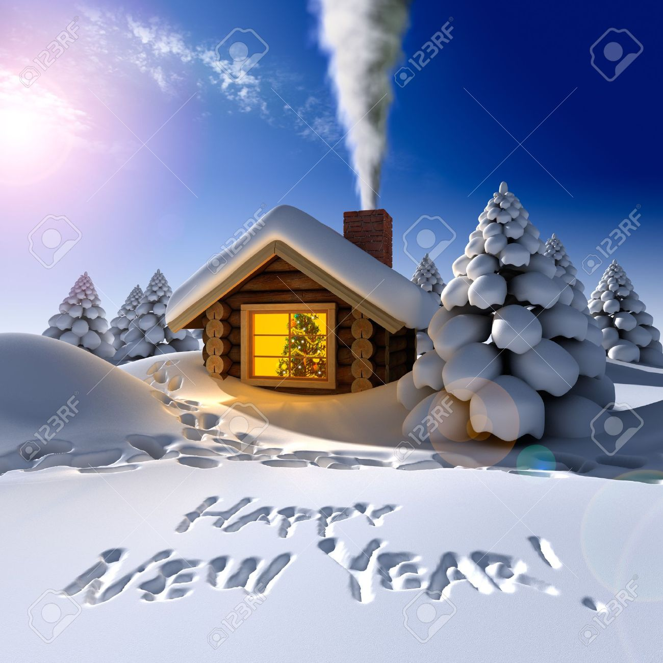 A small cottage in the fairy forest in snowy New Year's Eve. Around the hut on the snow trails and an inscription - a Happy New Year! Stock Photo - 8254702