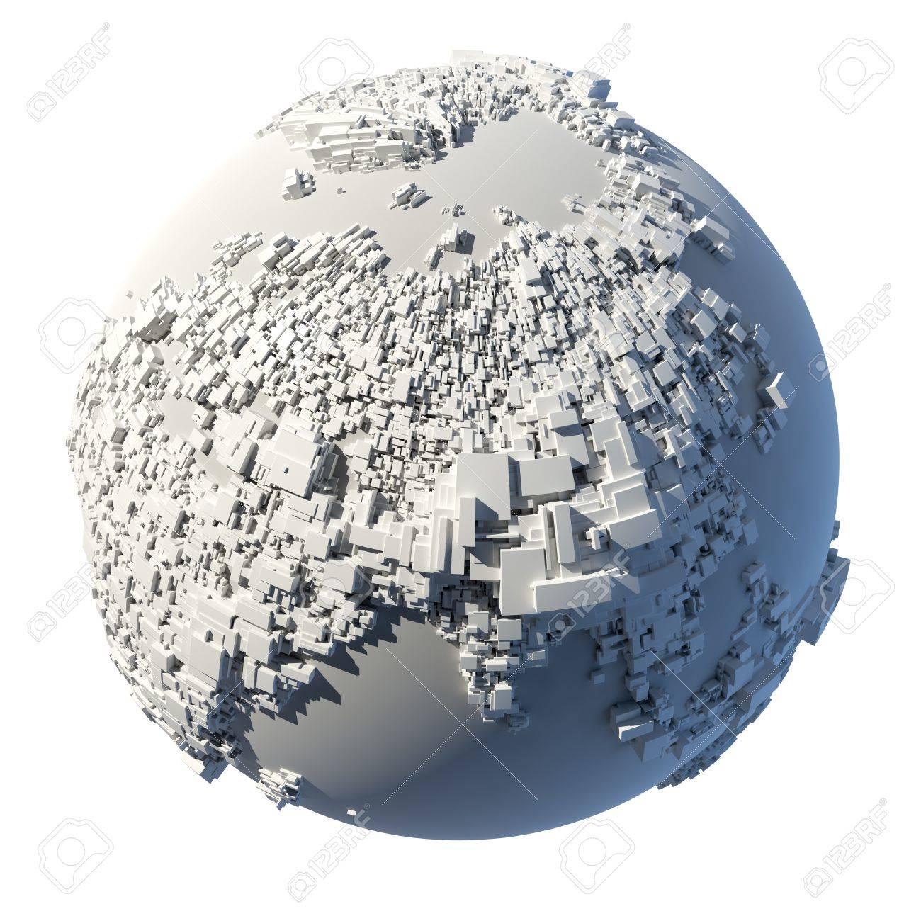 La Structure Complexe De La Terre Consistant En Une Forme Rectangulaire Cubes La Taille De Qui Dépend De La Hauteur Du Terrain Réel