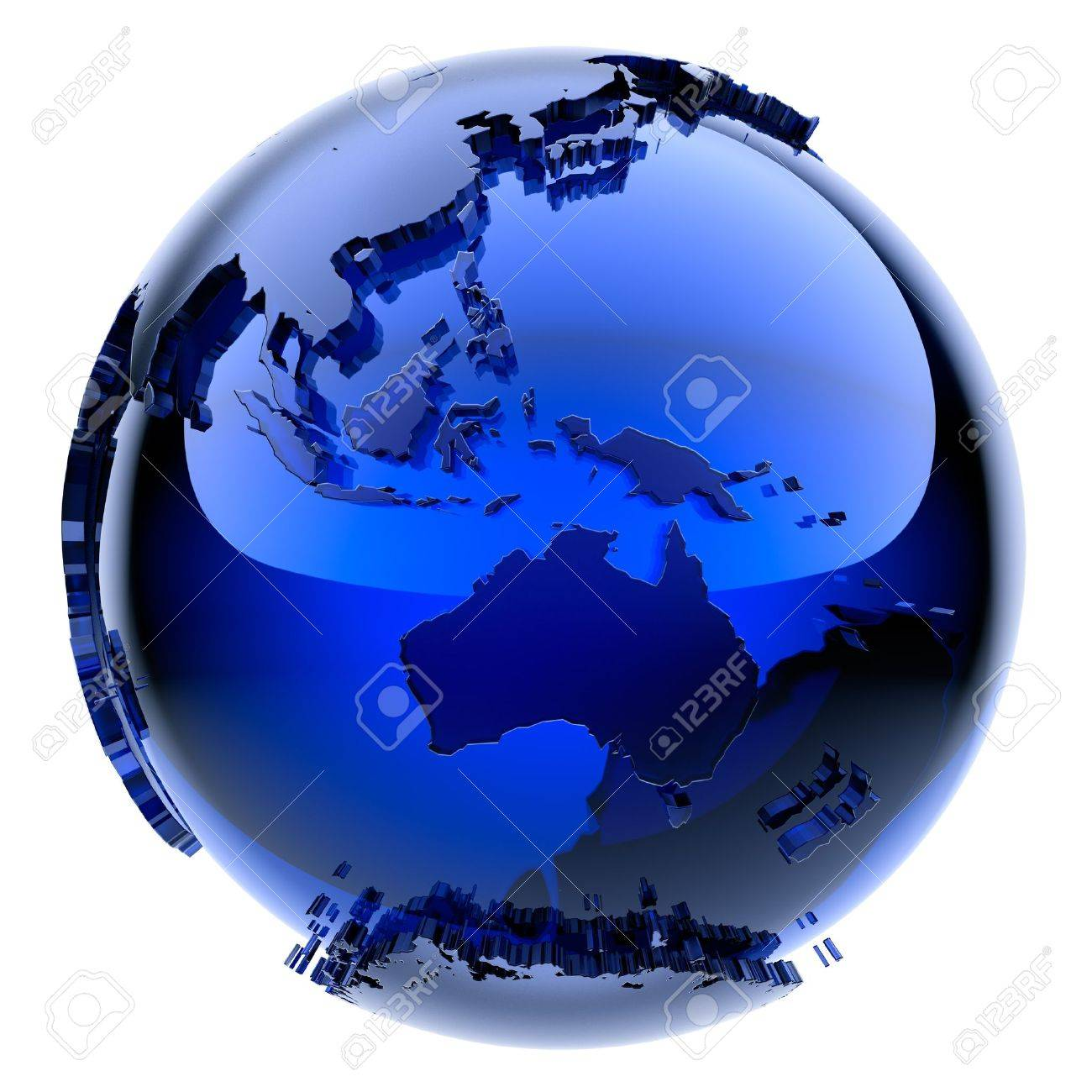 Blue glass globe with frosted continents a little stand out from the water surface Stock Photo - 11918717
