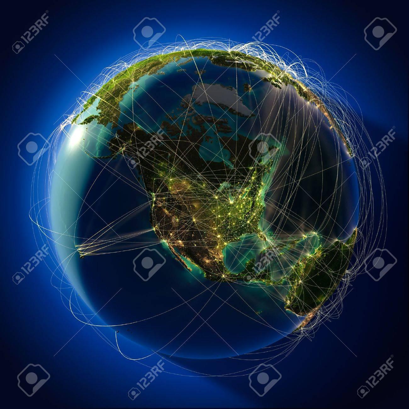 Sehr Detaillierte Planeten Erde Bei Nacht Von Hinten Beleuchtet Der