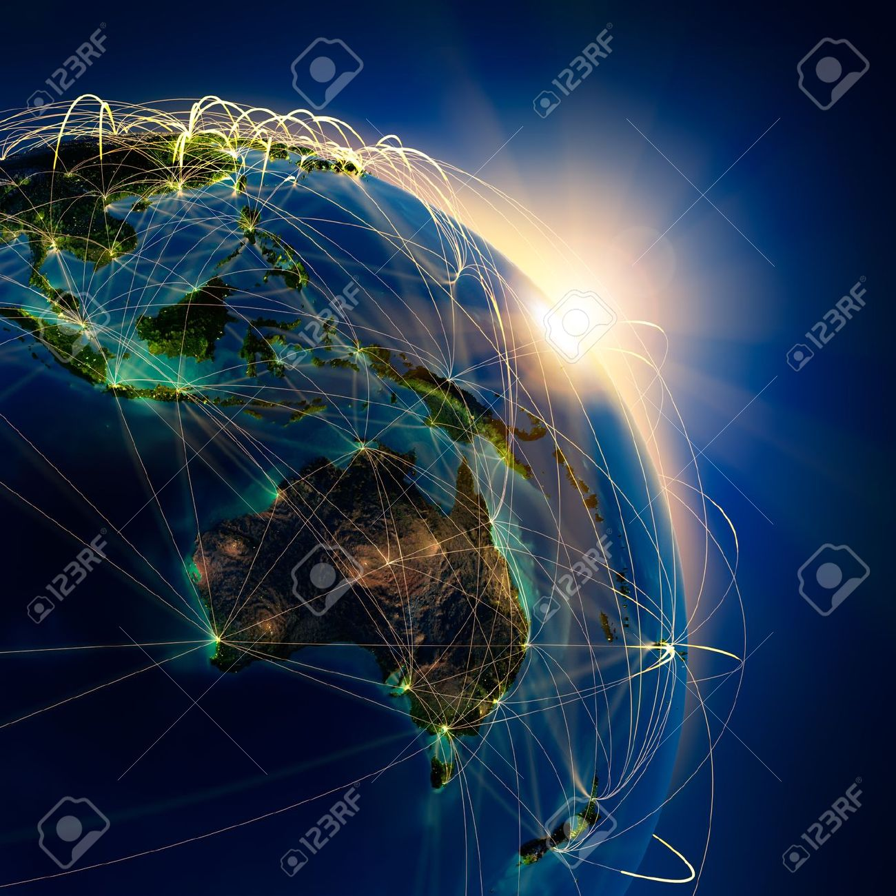 Highly detailed planet Earth at night, lit by the rising sun, with embossed continents, illuminated by light of cities, translucent and reflective ocean. Earth is surrounded by a luminous network, representing the major air routes based on real data - 12305747