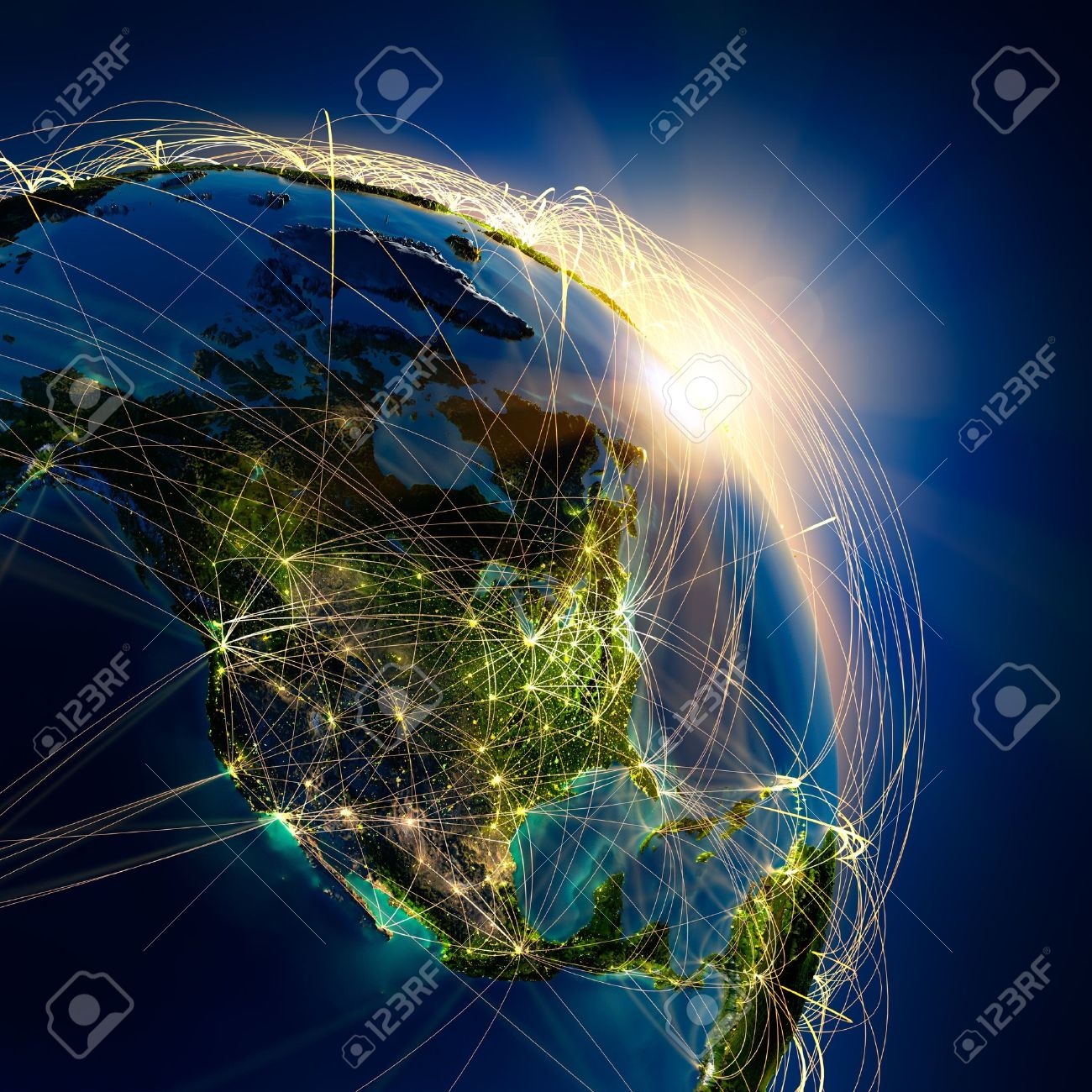 Highly detailed planet Earth at night, lit by the rising sun, with embossed continents, illuminated by light of cities, translucent and reflective ocean. Earth is surrounded by a luminous network, representing the major air routes based on real data Stock Photo - 12305749