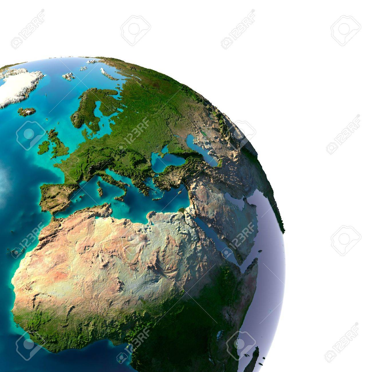 Earth with translucent water in the oceans and the detailed topography of the continents. A fragment of the Earth, with Europe and Africa. Isolated on white Stock Photo - 12651901