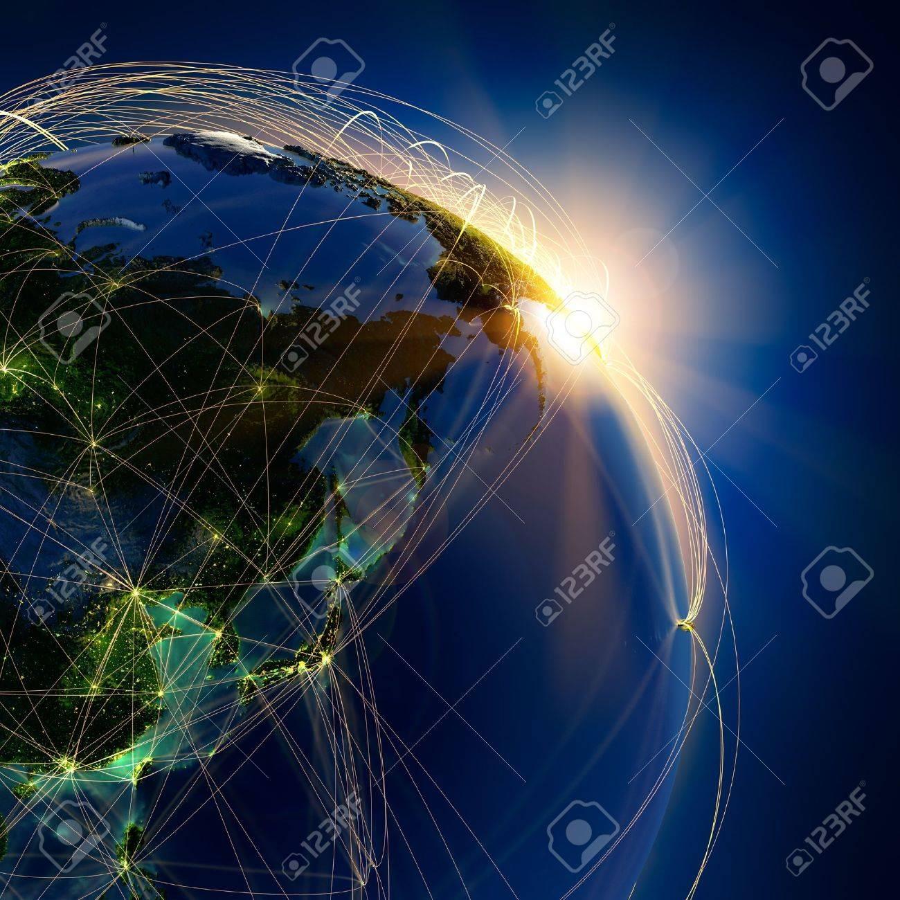 Zeer Gedetailleerde Planeet Aarde \'s Nachts, Verlicht Door De ...