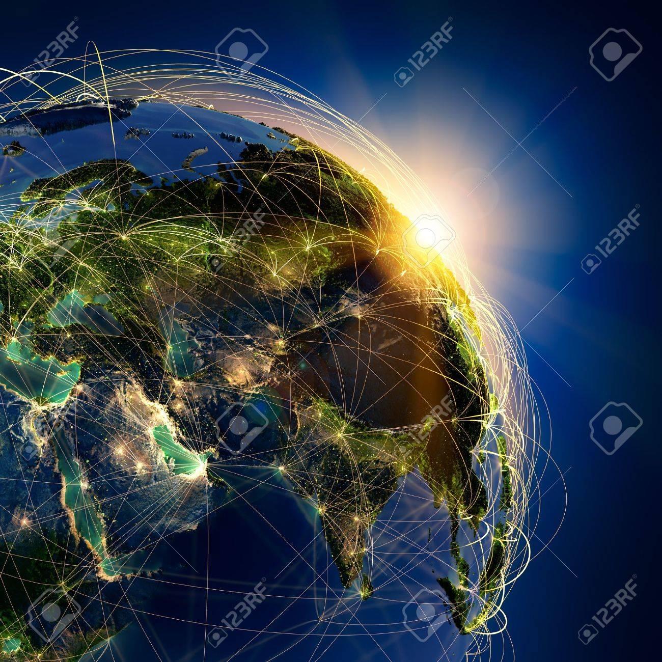 Sehr Detaillierte Planeten Erde Bei Nacht Beleuchtet Durch Die