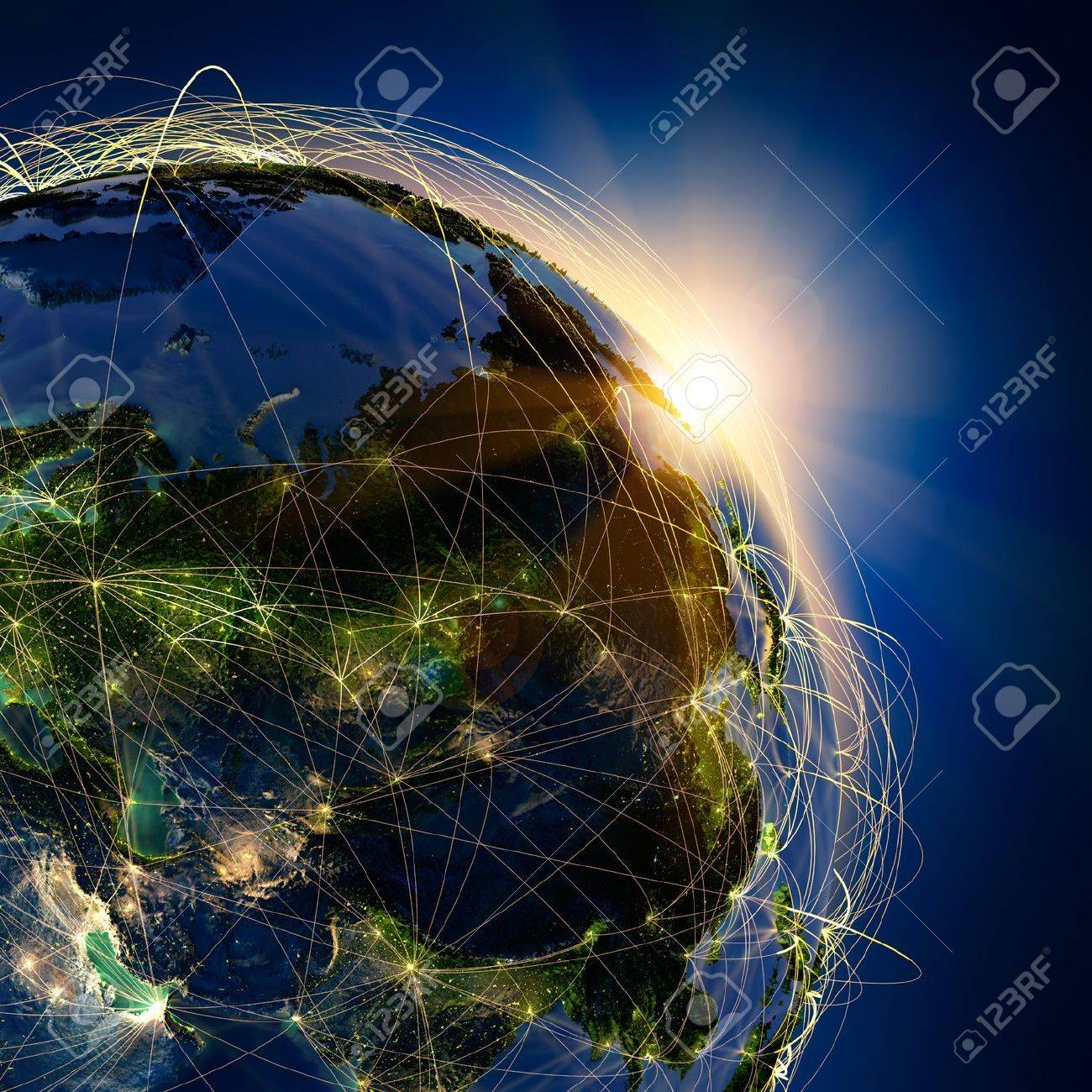Highly detailed planet Earth at night, lit by the rising sun, with embossed continents, illuminated by light of cities, translucent and reflective ocean Earth is surrounded by a luminous network, representing the major air routes based on real data - 13284942