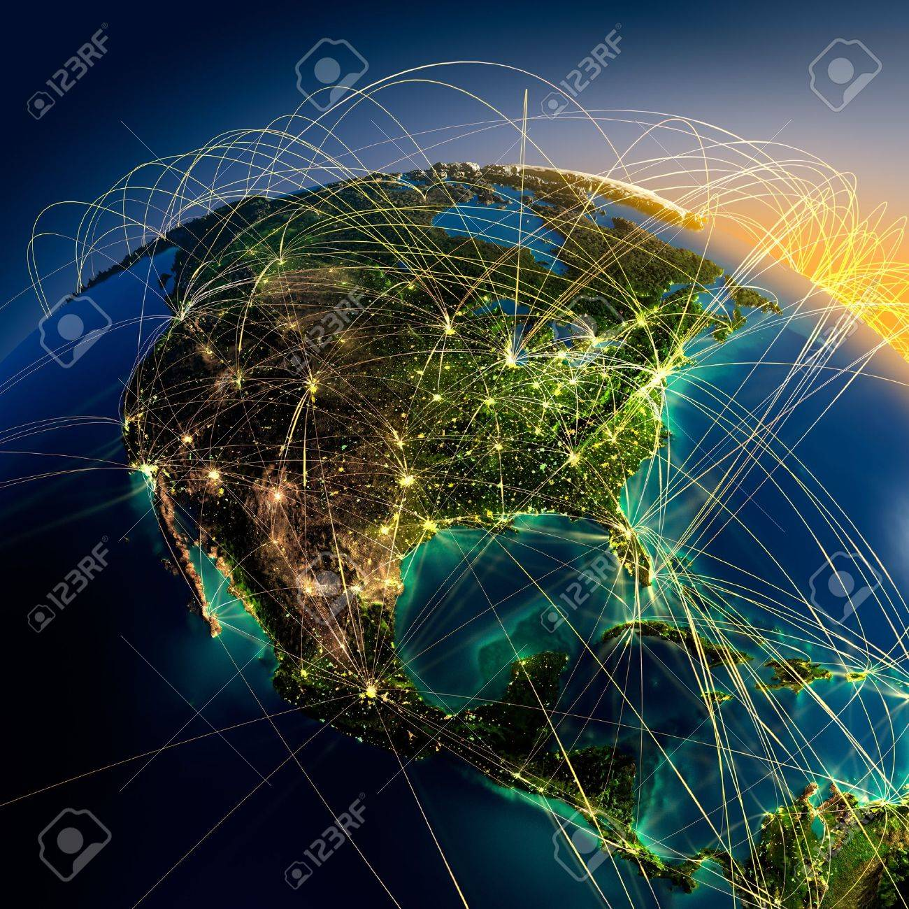 Highly detailed planet Earth at night with embossed continents, illuminated by light of cities, translucent and reflective ocean. Earth is surrounded by a luminous network, representing the major air routes based on real data - 13654267