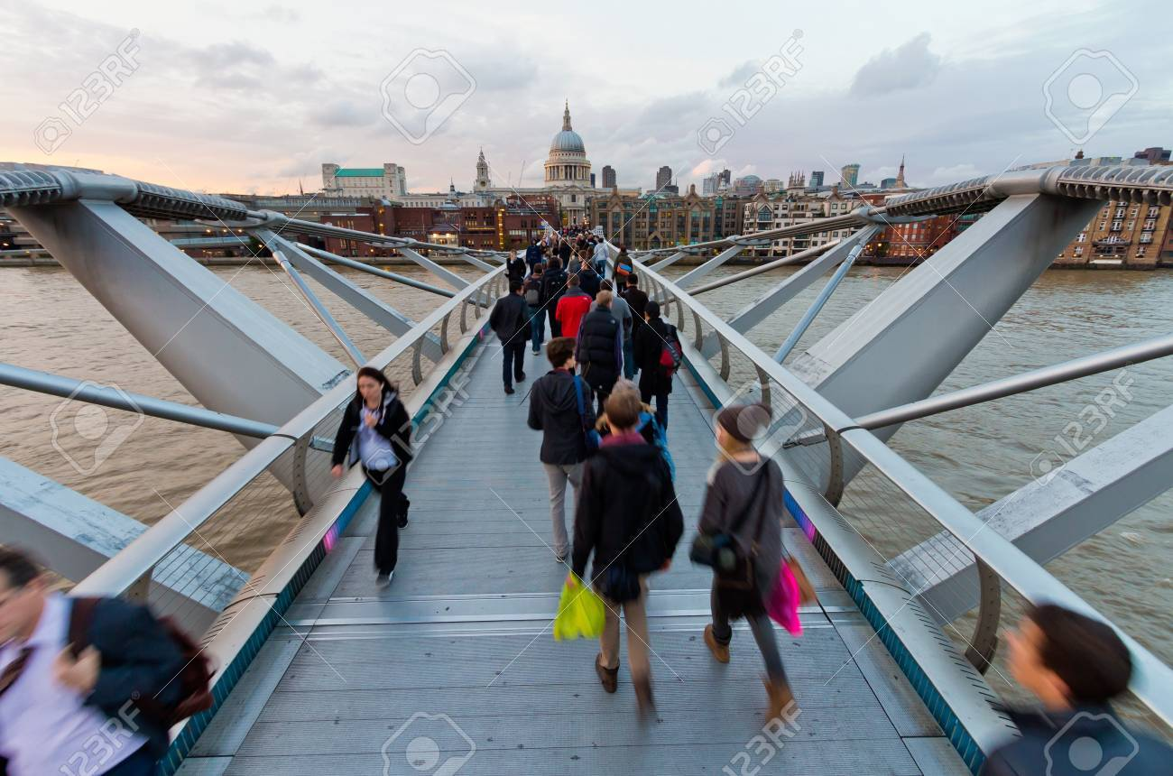 St Pauls cathedral view from the Millennium Bridge, London  Stock Photo - 17654169