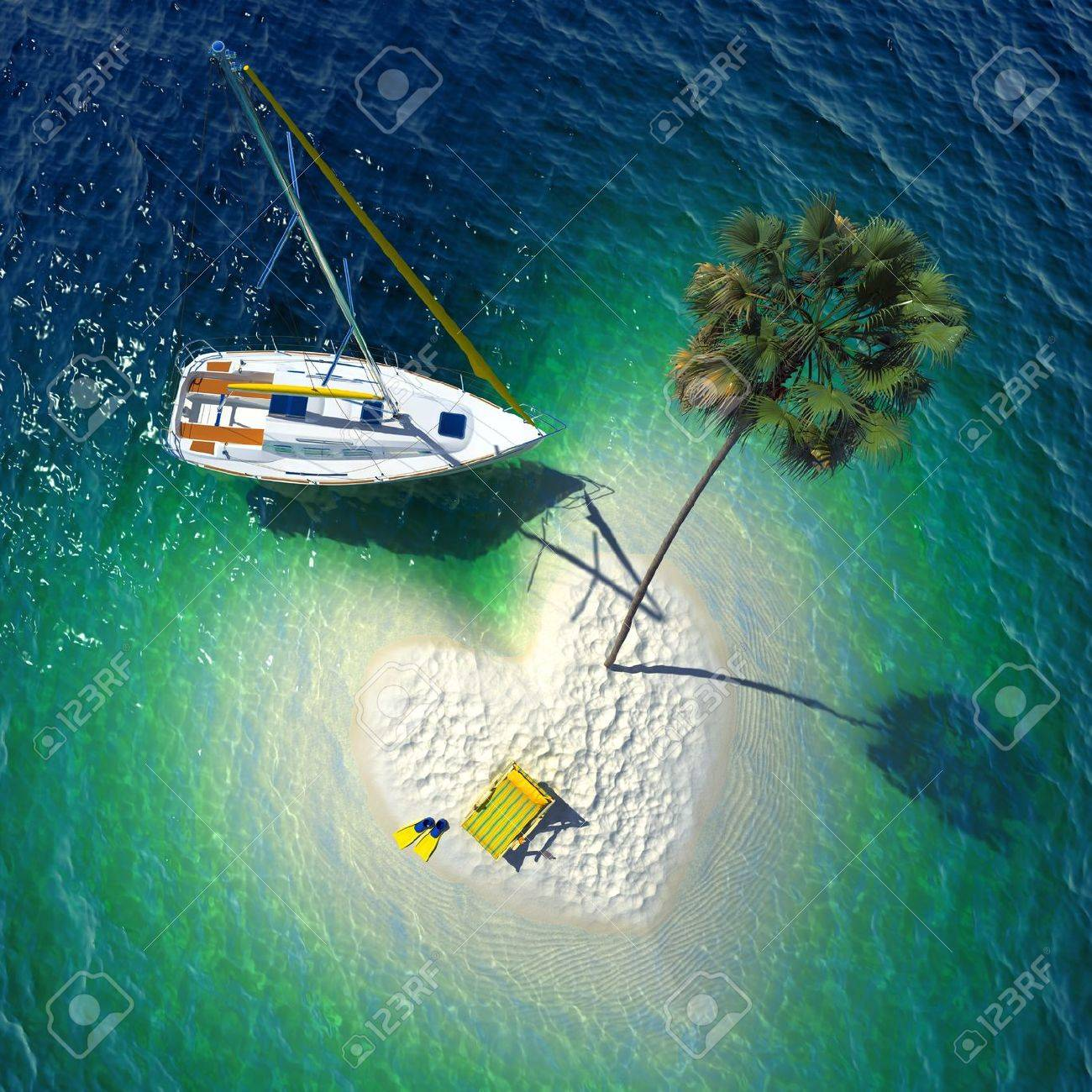 Tropical Island Yacht Concept Of A Wonderful Holiday In A Tropical Paradise A Small