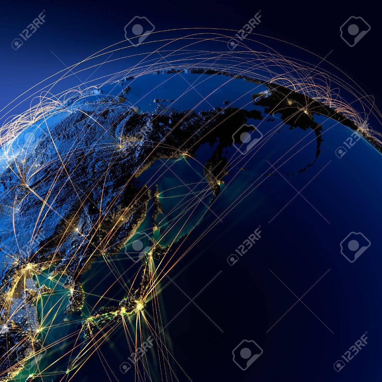 Sehr Detaillierte Planeten Erde Bei Nacht Mit Geprägtem Kontinenten