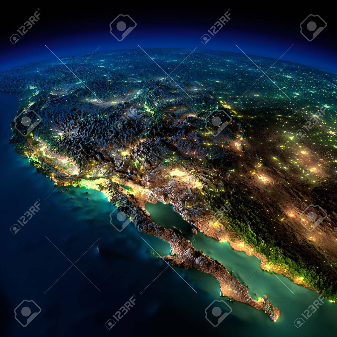 Highly detailed Earth, illuminated by moonlight. The glow of cities sheds light on the detailed exaggerated terrain and translucent water of the oceans. Elements of this image furnished by NASA Stock Photo - 18796378