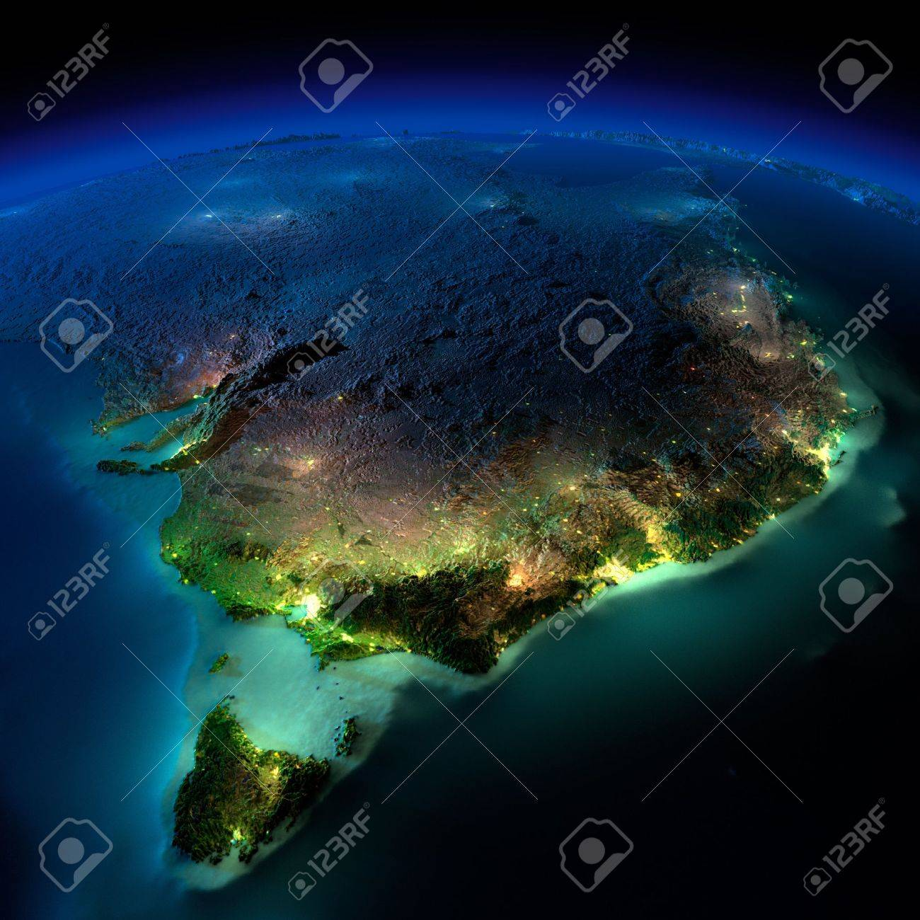 Highly detailed Earth, illuminated by moonlight. The glow of cities sheds light on the detailed exaggerated terrain and translucent water of the oceans. Elements of this image furnished by NASA - 18796385