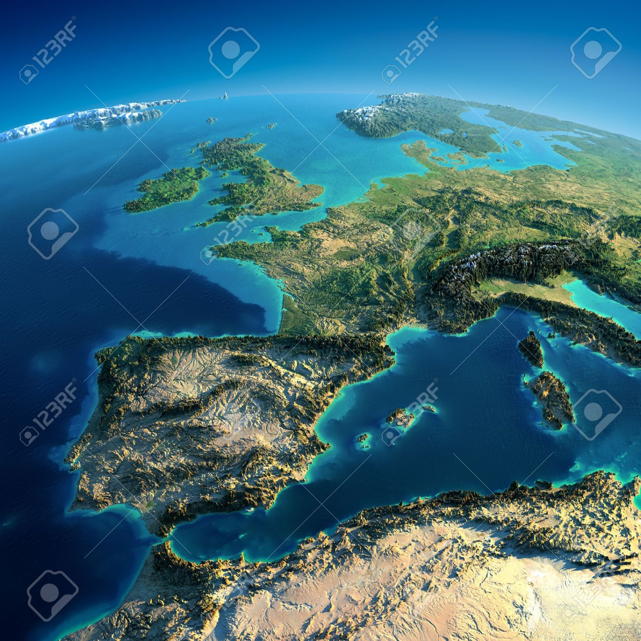 Highly detailed planet Earth in the morning Exaggerated precise relief lit morning sun Part of Europe, the Mediterranean Sea - 19449656