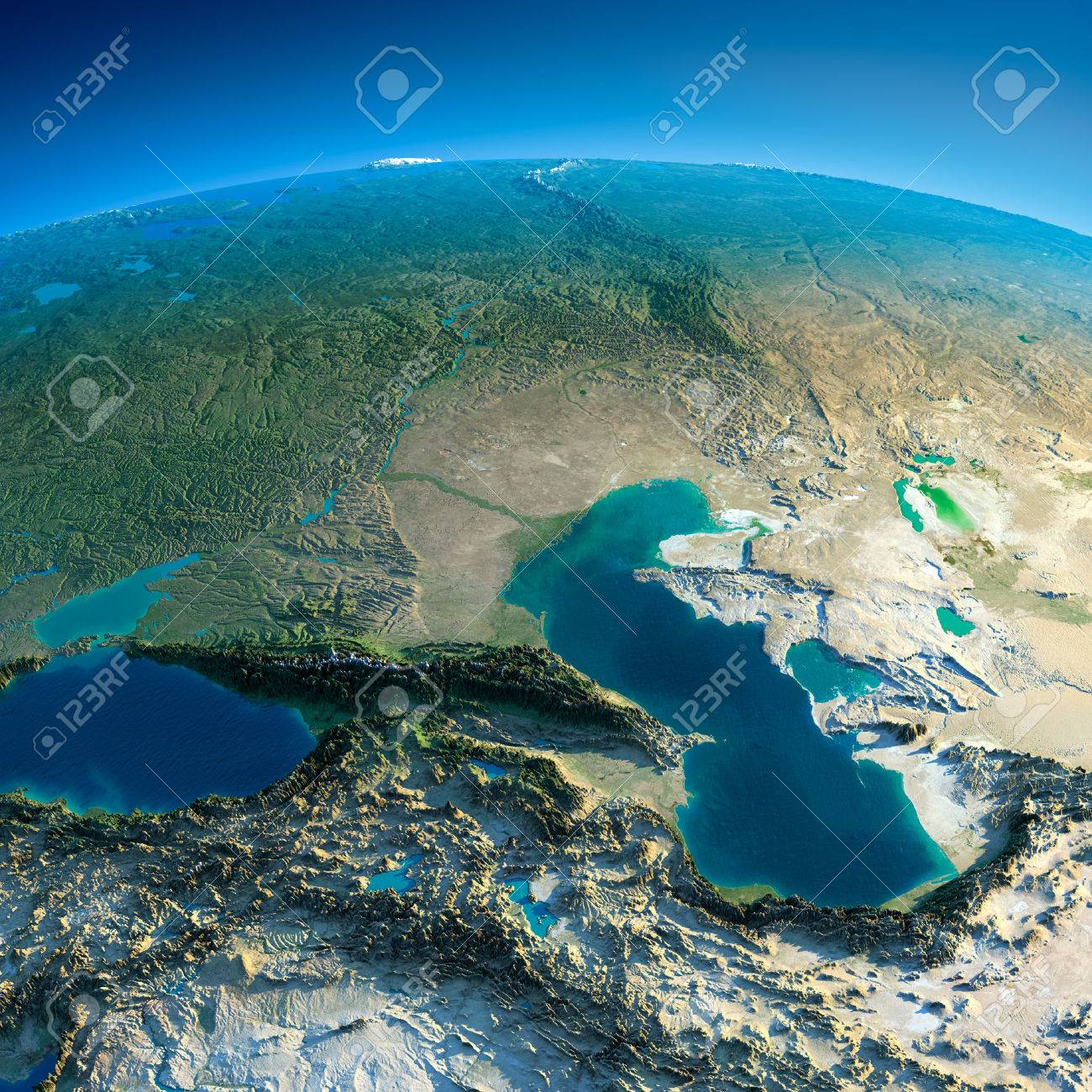 Highly detailed planet Earth in the morning Exaggerated precise relief lit morning sun Detailed Earth Caucasus - 26509249