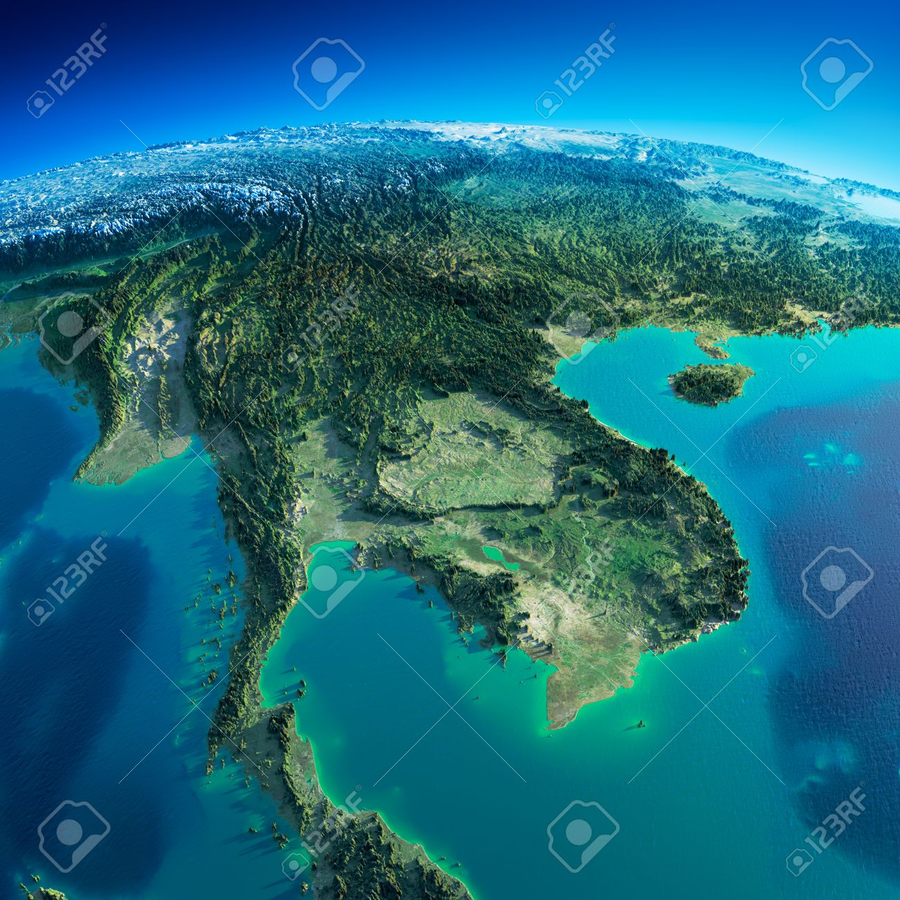 Highly detailed planet Earth in the morning Exaggerated precise relief lit morning sun Detailed Earth Indochina peninsula - 26509268