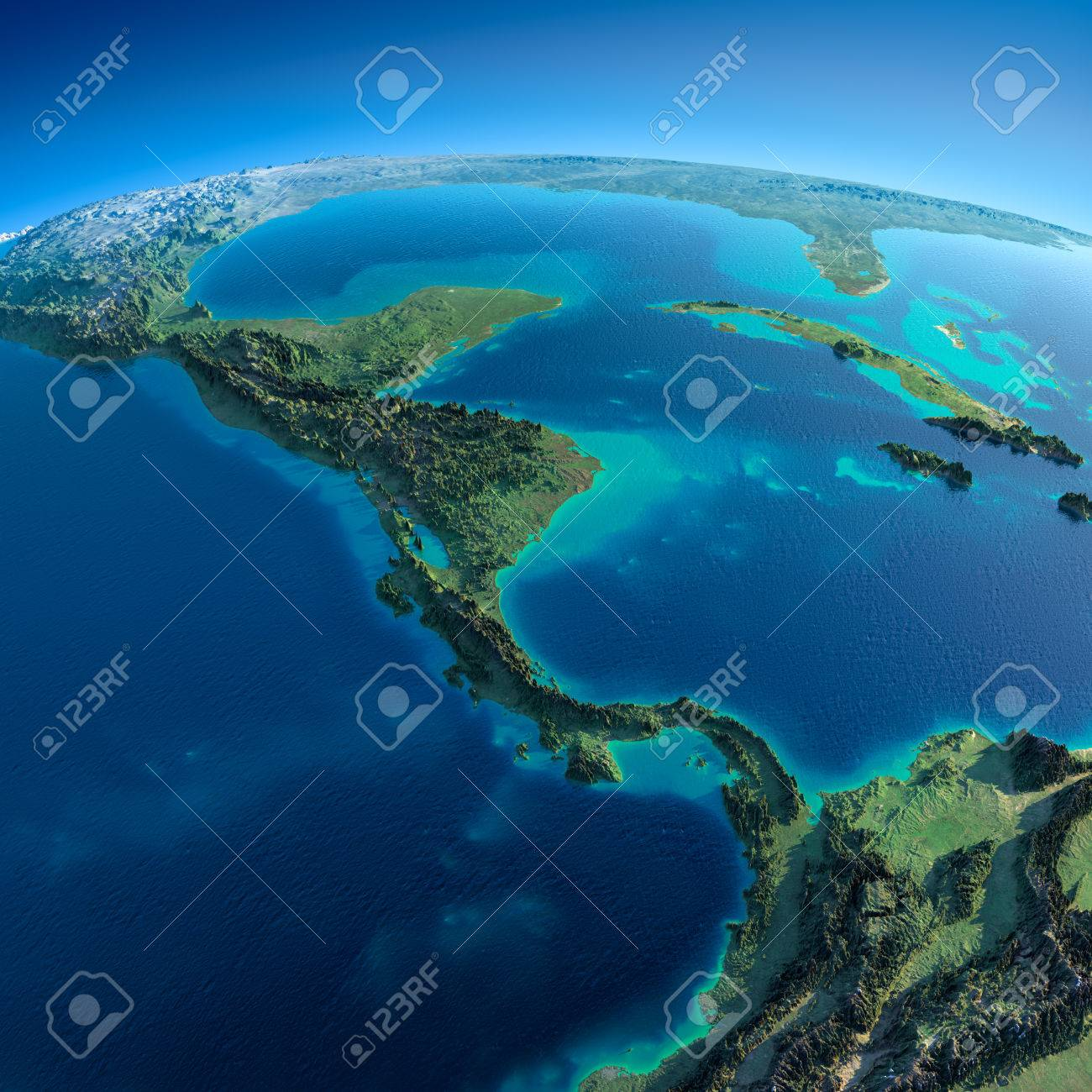Highly detailed planet Earth in the morning Exaggerated precise relief lit morning sun Detailed Earth The countries of Central America A - 26509290