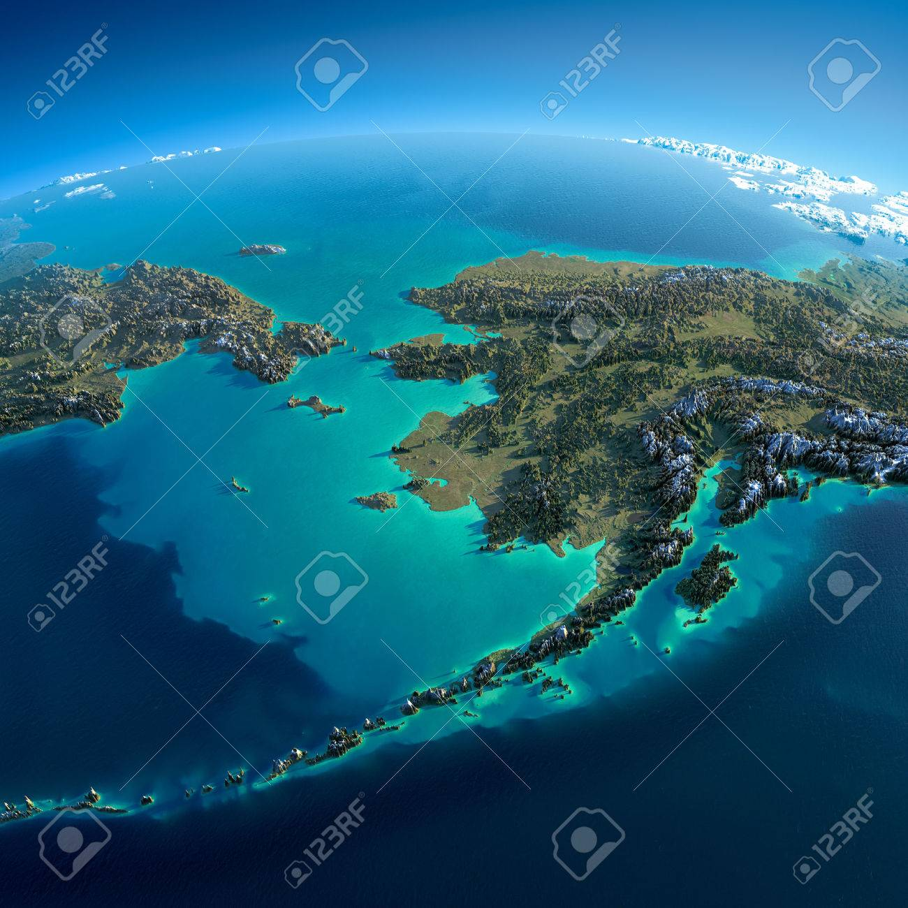 Highly detailed planet Earth in the morning Exaggerated precise relief lit morning sun Detailed Earth Chukotka, Alaska and the Bering Strait - 26509320